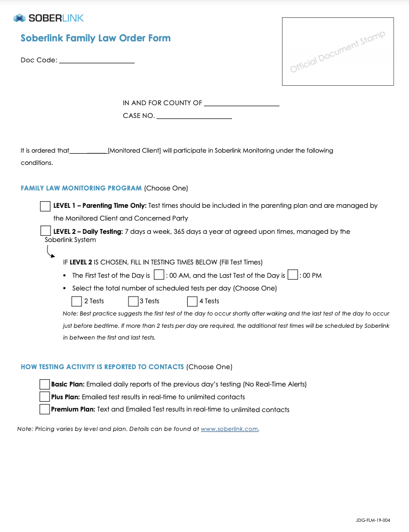 Family Law Order Form